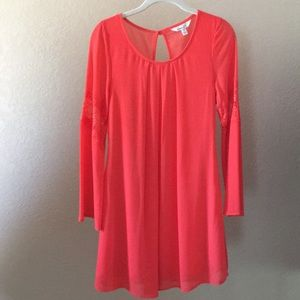 Coral Dress with Flared Sleeves Women/Juniors